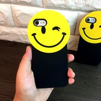 Popular coreia 3D Cartoon Smile Face Soft Silicon Phone Cases Cover para Iphone 6 6S 7plus OEM lindo gel de rosto gel silicone