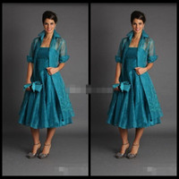 Wholesale Cheap Brown Jackets - Plus Size 2017 Short Mother of The Bride Jacket Dresses Sleeveless Tea Length Green Suits Evening Gowns Cheap Organza
