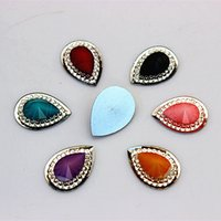 Wholesale Scrapbooking Beads Resin - 100PCS 13*18mm Drop Resin Rhinestone flatback Beads Scrapbooking crafts Jewelry Accessories ZZ22