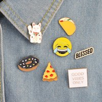 Wholesale Gift Bags For Clothes - Cartoon Emoji Pizza Taco Donuts Food Cat Pins Brooches Badges Backpack For Bags Jeans Clothes Decoration