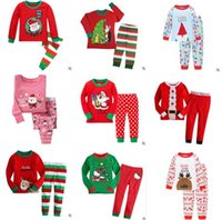Wholesale Boys Outfits Sets - Christmas Pajamas Outfits Kids Cartoon Snowflake Elk Cotton Christmas Pajamas Sets Boys and Girls Striped Nightwear Clothing Sets 917