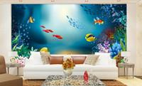 Wholesale Picture Aquarium - 3d wallpaper custom photo Non-woven mural Cartoon fish sea aquarium decor painting picture 3d wall muals wall paper for walls 3 d