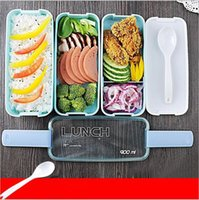Wholesale Microwave Oven Lunch Box - Lunch Box Environment Protection Cute Student Three Layers Lattice Plastic Bento Boxes Candy Colored Square Microwave Oven Tableware YYA132