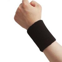 Wholesale Cotton Wristbands Sweatband - Wholesale- 1 PCS sport wristband Unisex Cotton Sweat Band Sweatband Arm Band Wristband Tennis Basketball Gym Yoga wrist Strap Safety