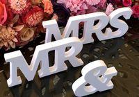 Wholesale Sign Supply Wholesalers - 3 pcs set Wedding Decorations Mr & Mrs Mariage Decor Birthday Party Decorations White Letters Wedding Sign