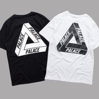 Wholesale Summer Shirt Short Women - PALACE T-Shirt Men Women Short Sleeve Summer Cotton Tees Palace Skateboards Tri-Ferg White Black Shirt Floral Triangle Tees YBG0301