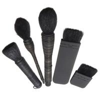 Wholesale flat kabuki - 5pcs Makeup Brushes Kabuki Set Black Flat +Rattan Wool Make Up Brush For Powder Foundation Blending Pinceis Maquiagem Kit