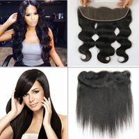 Wholesale Peruvian Frontal - Brazilian Body Wave Lace Frontal Closure Free part 13*4 Peruvian Straight lace frontal Virgin Human Hair Ear to Ear Lace Frontal 8-20 inches