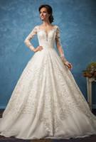 Wholesale Dress Embellishments - long sleeve vintage wedding dresses 2017 amelia sposa bridal sweetheart neckline full embellishment illusion back royal train