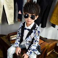 Wholesale Hot Fashion Children Jackets - fashion kid boy blazer coat gentle floral print Spring causal suit coat for 3-10years boys male children outerwear clothes hot