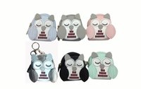 Wholesale owl dress blue - Owl coin purses women wallets small mini cute cartoon card holder key headset money bags for girls ladies purse pink green blue