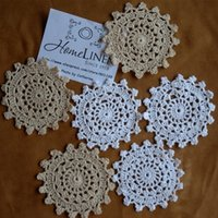 """Wholesale Ecru Crochet Doily Mat - Wholesale- 24Pcs lot Wholesale Hand made Lace Crochet Cup Mat, Cotton Ecru Doily ,Cup Pad,Coaster ,Embroidery Wedding Decor 10cm(3.94"""")"""