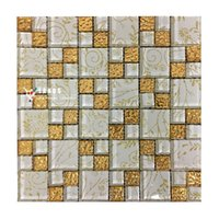 Wholesale Gold foil glass mosaic tile Glass brick Livingroom glass mosaic tiles deco Kitchen backsplash tiles Bathroom wall tiles LSTC010