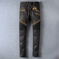 Wholesale Golden Pants - Senior designer brand 2017 bicycle robin jeans Manual paste crystal golden wings black robin jeans Men's fashion crime zipper pants