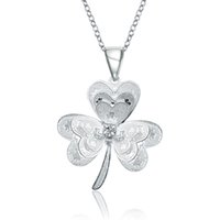 Wholesale Korean Pendant Design - Korean Design Cute Lucky Clover Pendant & Necklace for Women Jewelry Friendship Accessories Fashion Personality Silver Plated Necklace Gifts