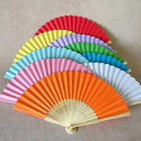 Wholesale paper fan china resale online - Eco Friendly Wedding Favors Gifts Elegant Solid Candy Color Paper Bambo Fan Cloth Wedding Hand Folding Fans DHL