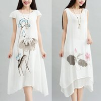 Vintage Dresses painting skirt - Linen Dresses Casual Dresses for Women Restore Ancient Ways The Hand painted Fairy Skirt Loose Cotton Print Skirt of Big Yards