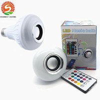 Wholesale Keys Colored - LED Bluetooth 12W Hot Wireless Speaker Bulb Audio Speaker LED Music Playing Lighting With 24 Keys E27 Remote Control DHL Free shipping