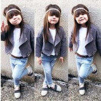 Wholesale Hot Girl Leather Clothing - Ins hot sale Autumn Winter Fashion suede baby leather coat Girls Jackets Coats Toddler Jackets Children Outwear Girls Clothes Tops A1316
