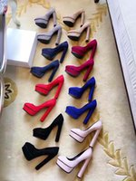 Chaussures De Mariage Plates Pas Cher-2017 Women Dress Chunky Heel 14cm Pointed Toes Plateforme Forme Mariage Pompes Femmes Chaussures chaussures de mariée chaussures pompe soirée chaussures de bal