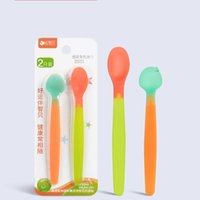 Wholesale Safe Suits - Baby Spoon Change Colour Temperature sensing Safe Soft Silicone Spoons For Feeding 2 Pieces In Suit Children Tableware 5 5yz J R