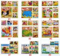 Wholesale Cheap Puzzle Cubes - Six Sides 9pcs lot Kids Toys 3D Wooden Puzzle Preschool Educational Cube Block Jigsaw Gift For Boys And Girls Wholesale Cheap DHL Fast