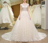online shopping Ball Gown Wedding Dress - Luxury Ball Gown Wedding Dresses Sheer Jewel Neck 2017 Newest Cap Sleeve Chapel Train Wedding Gowns with Lace Appliques Crystal Custom Made
