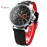 Wholesale Shark Sport Watch Black - atches Quartz Wristwatches Pacific Angel SHARK Sport Watch Men Clock Date Day Stainless Steel Case Leather Strap Top Quartz Black Red Fas...