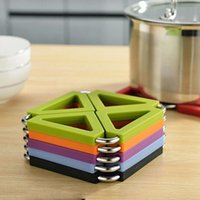 Wholesale Heat Resistant Glass Pot - Square Silicone Non-Slip Heat Resistant Pot Mats Pads 6 Colors Thicker Coasters Cup Glass Beverage Holder Mug Pad Table Mat