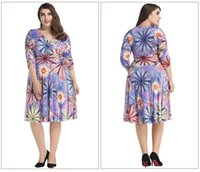 Wholesale Big Beautiful Clothing - Women Oversize Clothes 7XL Fashion Beautiful Floral Dress Patterns Deep V Neck Big Size Fat Ladies Women Dress