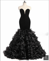 Wholesale Custom Made Mermaid Dress Uk - 2017 Real Strapless Black Mermaid Evening Dresses Ruffles Long Engagement Gowns Vintage Prom Dress Custom Made Party Formal Gown USA UK