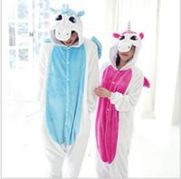pyjama-kapuzenpulli großhandel-Q228 Heißer Verkauf Blau Rosa Winter Kawaii Anime Hoodie Pyjamas Cosplay Erwachsene Onesie Weihnachten Einhorn Pyjama Kostüm Einhorn Onesie