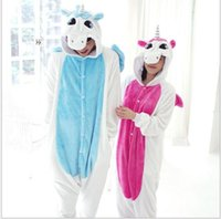 Wholesale Hot Pink Anime Costumes - Q228 Hot Sale Blue Pink Winter Kawaii Anime Hoodie Pyjamas Cosplay Adult Onesie Christmas Unicorn Pajama Costume Unicorn Onesie