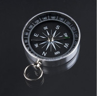 Wholesale Pocket Compass Aluminum - 100pcs Metal Aluminum Mini Pocket North Compass for Camping Hiking Hiker Outdoor Sports Navigation Navigator Silver 44mm