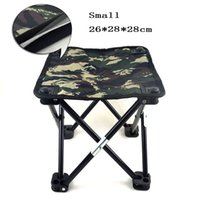 Wholesale Smallest Portable Stool - Wholesale- New 2016 Camouflage Portable Small Fishing Chair Stool Folding Mini Camping Fishing Tackle Cadeira Small Size 26X28X28CM