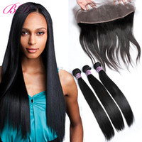 Wholesale silky straight weave chinese hair - BD Straight Lace Frontal Human Hair Lace Closure Silky Straight Human Hair Weave Bundles Within Lace Frontal