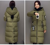 Wholesale Pink Fleece Hat - Winter Women Jacket Coat Thicken Slim Female With Hat Long Down Coat Casual Parka Plus Size 3XL Free Shipping