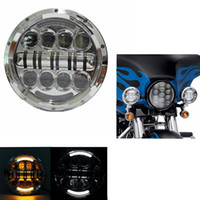"""Wholesale Universal Chrome Headlight - 7"""" LED Headlight for Harley Davidson Motorcycle Chrome Round Projector Daymaker Hi Lo Beam"""