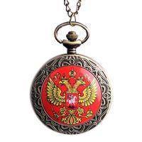 Wholesale Russia Antique - Wholesale-2015 Vintage Bronze New Russia's Double-headed Eagle Quartz Pocket Watch Men Women Russia Style Pendant Watches High Quality