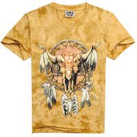 camisa de la cabeza del cráneo 3d al por mayor-Impresión 3D Camisetas de manga corta Sheep's Head Skull 3D Tie Dye Camiseta para hombre Jersey suelto Envío gratis