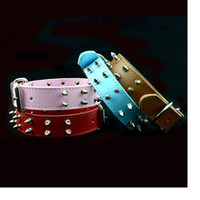 Wholesale Spike Studded Collars - Double row bullet nail Spiked Studded Leather Dog Collars For Medium Large Breeds Pit-bull Mastiff Boxer Bully WA1808