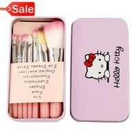 Wholesale Kt Tools - 7pcs KT brand makeup brushes Iron box Makeup brush tool kit Cartoon makeup tool Pink benefit health
