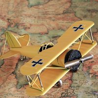 Wholesale Model Airplane Collection - Vintage Double Wings Metal Iron Airplane Model Handcraft Plane Aircraft Home Wedding Decoration Collection Kids Toy Styling Gift