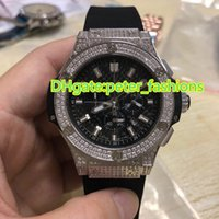 Wholesale Global Rubber - AAA Global luxury brand watches black rubber belt all silver diamond watches quartz chronograph watches sports wristwatch