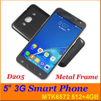 Wholesale Android Phone Gps 512 Ram - 5 Inch MTK6572 Dual Core Android 4.4 Smart Phone 3G Dual Sim Card GPS 512M RAM 512 3G WCDMA Unlocked gesture Free with case 30pcs D205