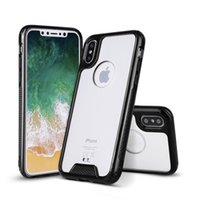 Wholesale Black Rose Hoods - Acrylic Phone Bag Case For Apple iPhone X 8 iPhone8 5.1 inch Cases PC+TPU Armor Back Covers Bags Shell Skin Hood Housing