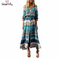 Wholesale Boho Hippie Clothes - 2017 New Bohemian printing long dress women maxi long dress floral print retro hippie vestidos plus size clothing boho dresses