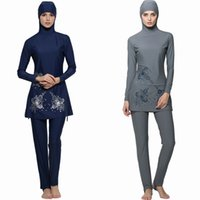 Wholesale Islamic Swimsuit Swimwear - Full 2017 Cover Islamic Swimwear Women Modest Full Cover Arab Beach Wear Hijab Swimsuit Swimwear Burkinis for Muslim Girls Women Burkini