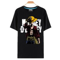 Wholesale One Piece Luffy Hat - Wholesale- One Piece T Shirt Luffy Straw Hat Japanese Anime T Shirts O-neck Black T-shirt For Men Anime Design One Piece T-shirt camisetas