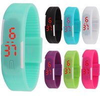 Wholesale Color Led Watches Display - 13colors Sports rectangle led Digital Display touch screen watches Rubber belt silicone bracelets Wrist watches free shipping